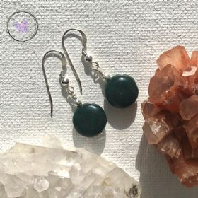 Bloodstone Coin Earrings